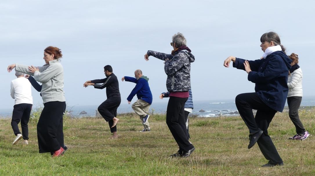 Un groupe de pratiquants de Taichi-Chuan devant la mer à Porspoder en Bretagne au cours d'un stage Qigong Tai chi en juillet 2017