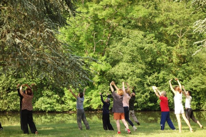 Un groupe de personnes pratiquent le qiqong sous les arbres dans un parc de Clamecy dans l'Yonne