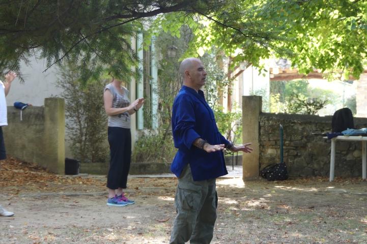 Pratique du Tai chi au stage Qiqong Taichi Meditation Aikido à Dieulefit été 2018